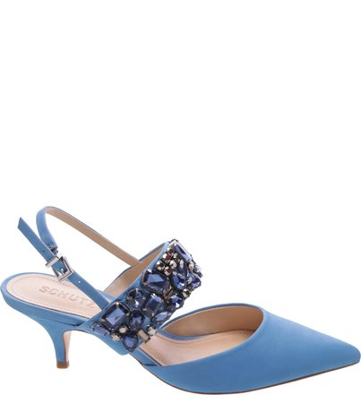 Scarpin Kitten Heel Slingback Blue   Schutz