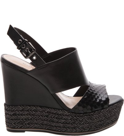 Sandália Anabela Mix Casual Chic Black | Schutz