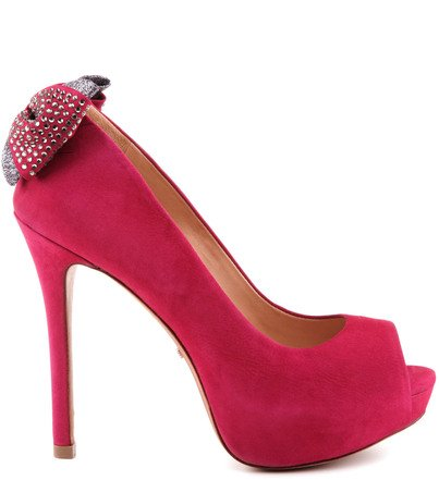 PEEP TOE SHINE TIE ROSE