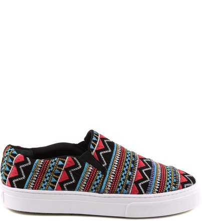 SLIP ON ETHNIC PRINT BLACK