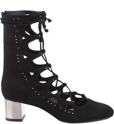 CRISTAL BLOCK HELL LACE UP BLACK