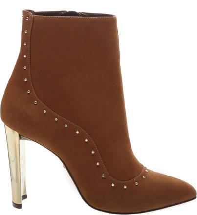 Bota Glam Metallic Heel Brown   Schutz