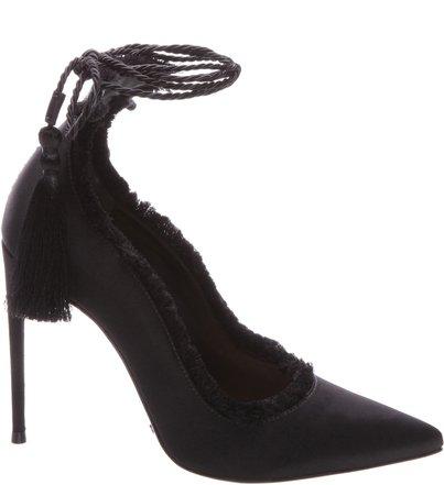 Scarpin Stiletto Lace Up Black   Schutz