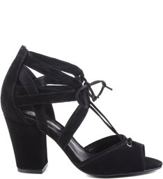 SANDÁLIA SALTO BLOCO LACE UP BLACK| BF