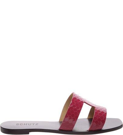 Flat Slide Croco Pink | Schutz